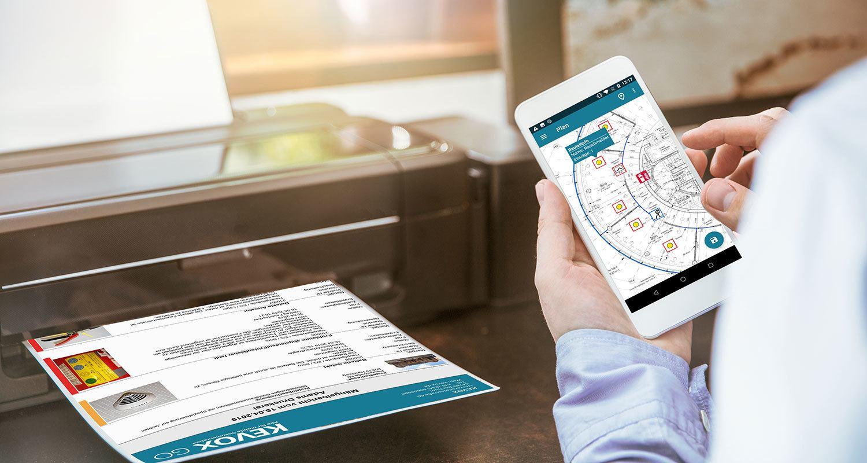 Brandschutz-Dokumentation-App-KEVOX-Bericht-wird-gedruckt