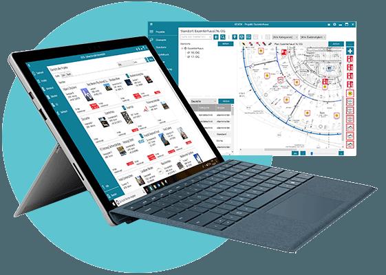 Software für technische Dokumentation auf Laptop und Notebook