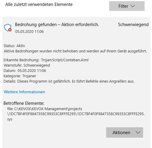 kevox trojaner windows antivir defender schwerwiegende bedrohung