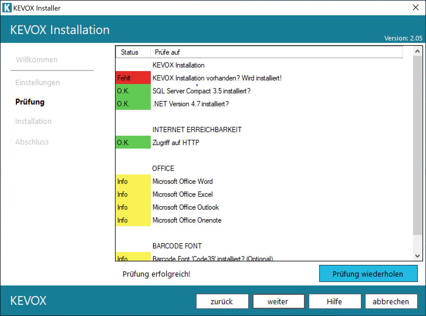 installation-fehlt-komponenten-liste-kevox-management