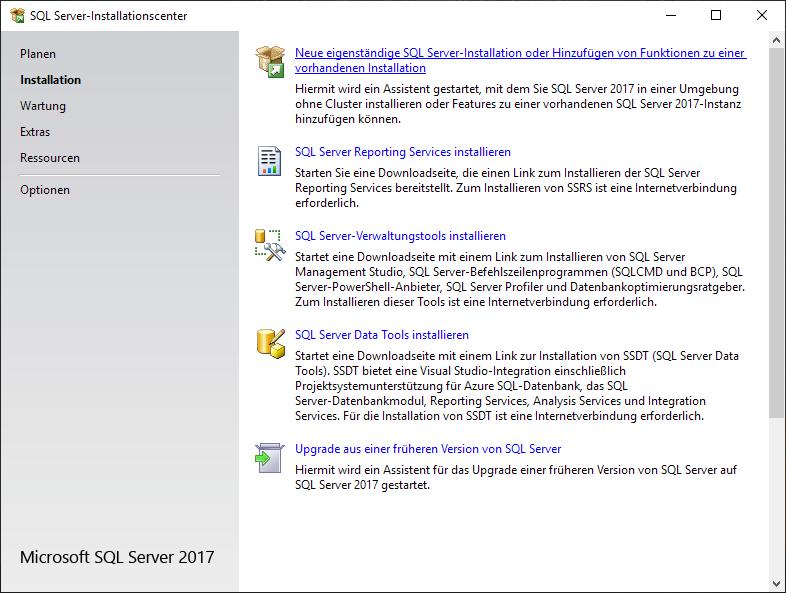 SQL-server-installationscenter-neu-eigenständig