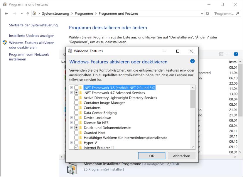 net-framework-programm-aktivieren-deaktivieren-version-kevox-server