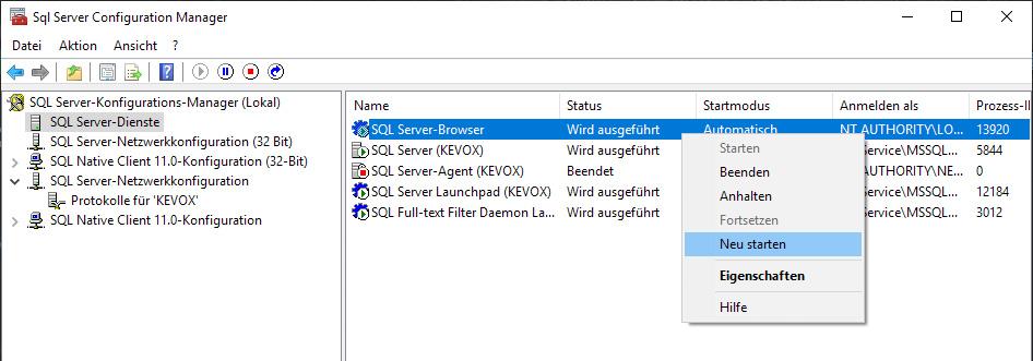 Server-sql-datenbank-neustarten-restart-kevox