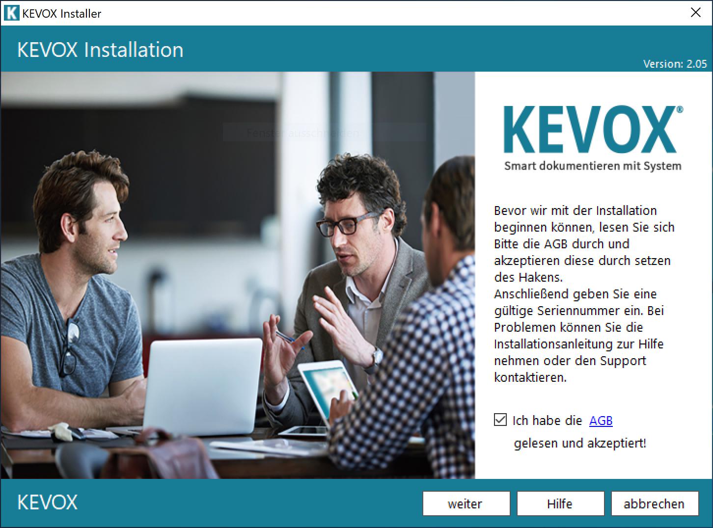 KEVOX-Installation-start-dokumentieren