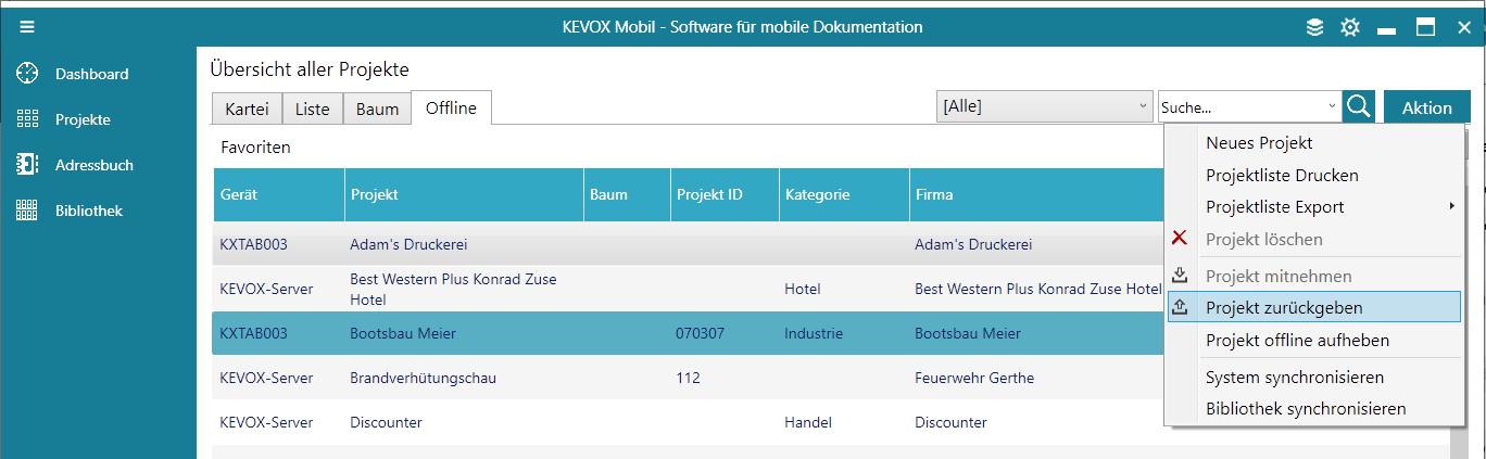 Projekt-zurückgeben-zurückspielen-offline-verbunden-server-kevox-management