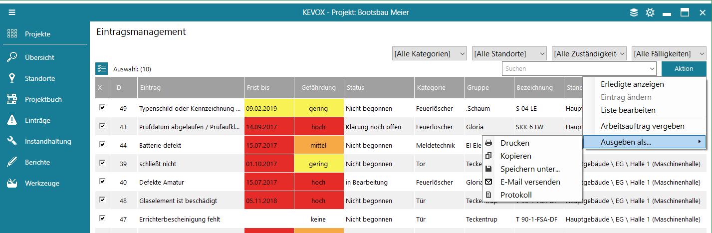 mangel-weitergeben-verschicken-ausgeben-e-mail-export-liste-kevox-management